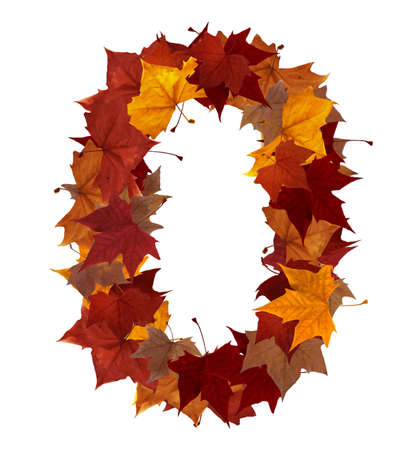 Number zero made with autumn leaves isolated on white with clipping path. So you can easily cut it out and place over the top of a design. Find others symbols in our portfolio to compose your own words.の写真素材