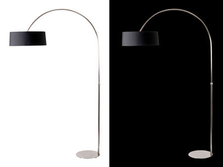 Contemporary metallic and black floor lamp on white and black backgrounds. Clipping path included for both, so you can easily cut it out and place over the top of a design.
