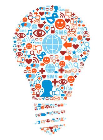 Social media icons set in lamp shape illustration