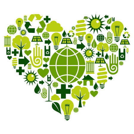 Heart with environmental icons in green .