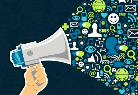 Illustration pour Hand holding a megaphone throwing social media icons on blue background - image libre de droit