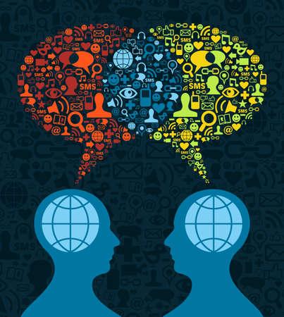 Illustration pour Two human figures face to face in conceptual social media communication on icon set blue background.  - image libre de droit