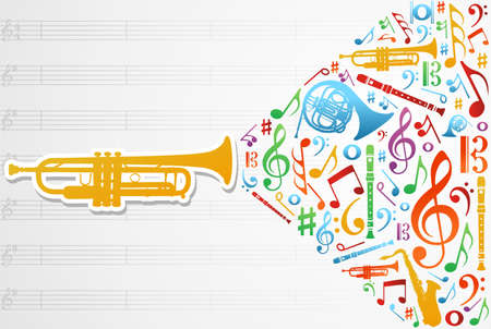Multicolored music instruments silhouette and elements over pentagram composition background.