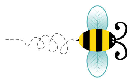 Cute bee cartoon style character flying isolated over white background.