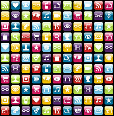 Smartphone app icon set seamless pattern background. Vector file layered for easy manipulation and customisation.