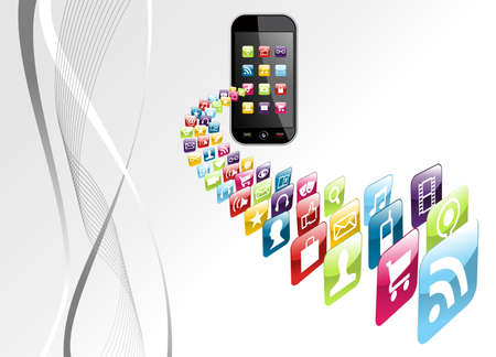 Smartphone application download on gray background file layered for easy manipulation and customisation