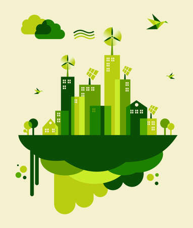 Illustration pour Go green city. Industry sustainable development with environmental conservation background illustration - image libre de droit
