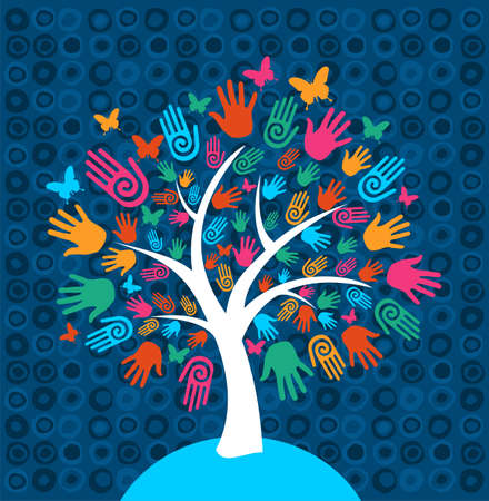 Diversity tree hands illustration background