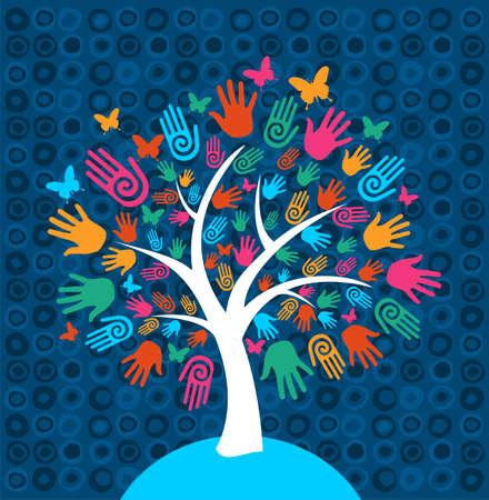 Ilustración de Diversity tree hands illustration background - Imagen libre de derechos