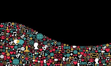 Landscape social media icons set in wave shape layout background