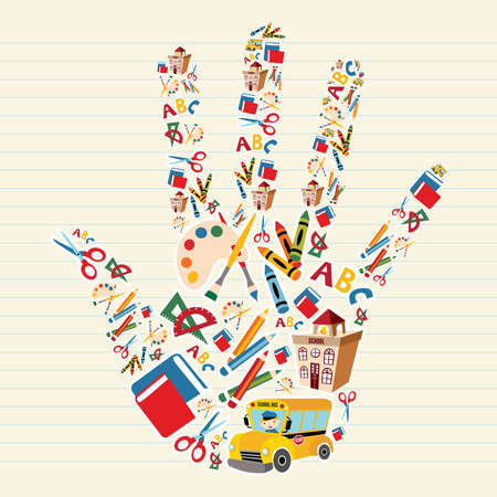 Photo for School tools and Supplies in hand shape background.  - Royalty Free Image