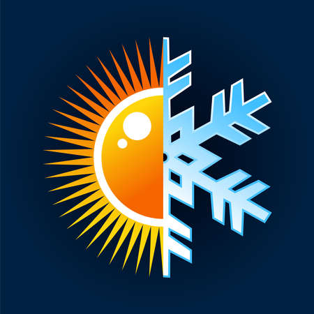 Winter and summer, hot and cold temperature icon over blue background. file layered for easy manipulation and custom coloring.