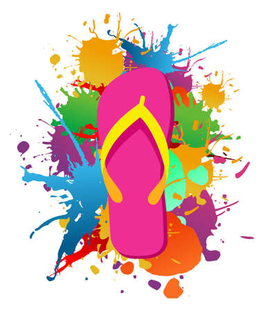 Flip flops over paint color splash isolated over white