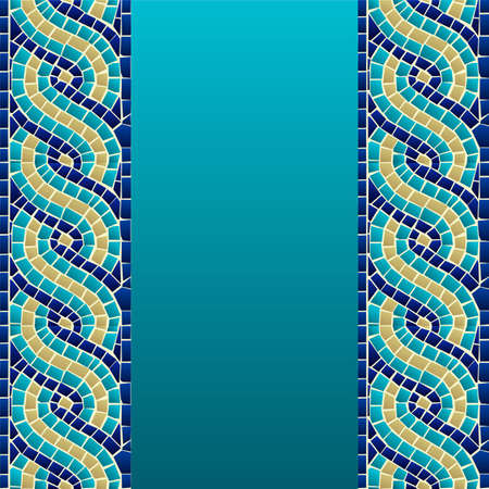 Illustration pour Marine style wave mosaic seamless pattern background  Vector file layered for easy manipulation and custom coloring  - image libre de droit