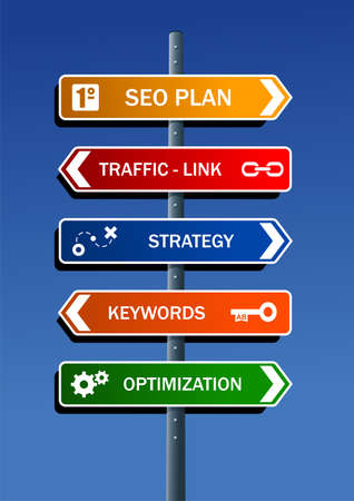 Search engine optimization  SEO  plan in road post