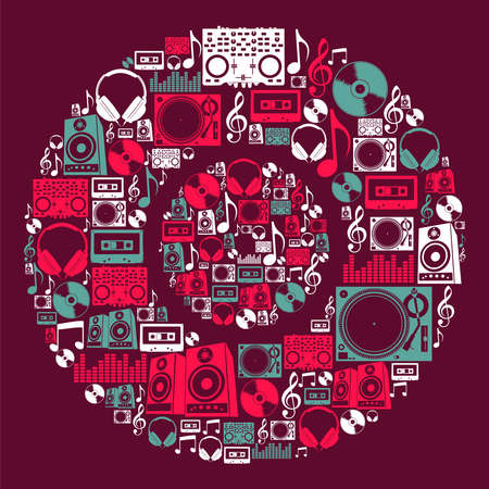 Illustration for Dj music icon set in vinyl disc shape file layered for easy manipulation and custom coloring  - Royalty Free Image