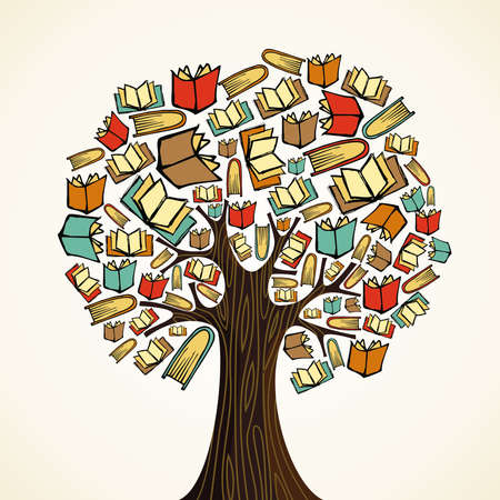 Illustration pour Global education concept tree made books  Vector file layered for easy manipulation and custom coloring  - image libre de droit