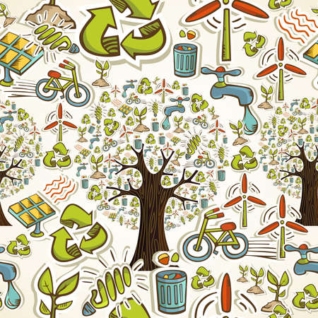 Environmental conservation hand drawn icons seamless pattern background  Vector illustration layered for easy manipulation and custom coloring