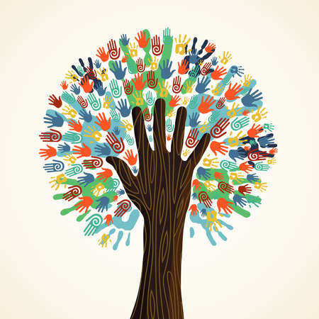 Illustration pour Isolated diversity tree hands illustration. Vector file layered for easy manipulation and custom coloring. - image libre de droit