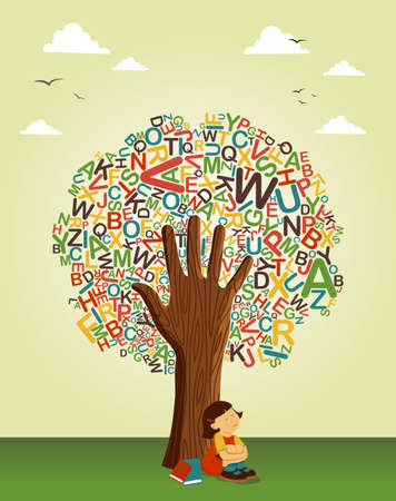 Photo for Back to school concept tree. Learn to read collaborative education. Vector file layered for easy manipulation and custom coloring. - Royalty Free Image