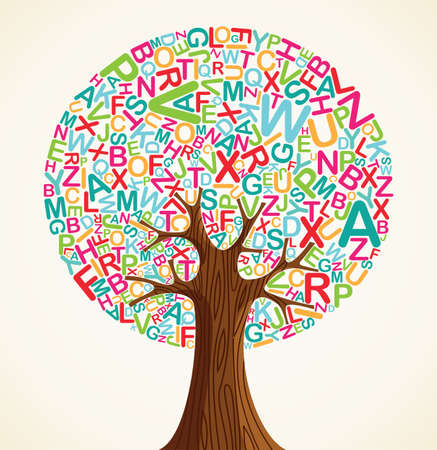 Illustration pour School education concept tree made with letters. Vector file layered for easy manipulation and custom coloring. - image libre de droit