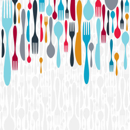Multicolored cutlery icons background. Vector illustration layered for easy manipulation and custom coloring.