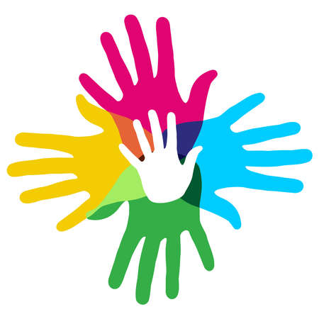 Illustration pour Multicolor creative diversity hands symbol  Vector illustration layered for easy manipulation and custom coloring  - image libre de droit