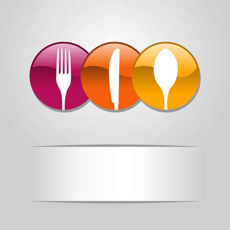 Multicolored web buttons food icon  spoon, fork and knife restaurant banner