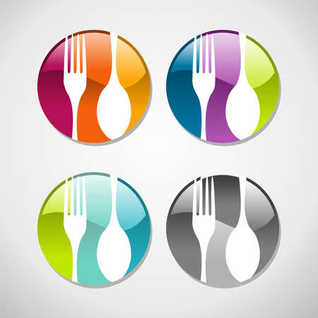 Multicolored glossy food web icons set background