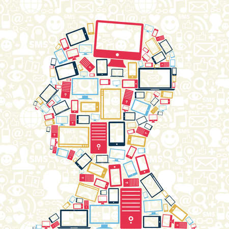 Computer, mobile phone and tablet colors icons in man head with social media pattern background