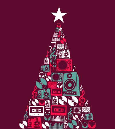 Illustration for Dj music retro icon set in Christmas pine tree shape illustration background   illustration layered for easy manipulation and custom coloring  - Royalty Free Image
