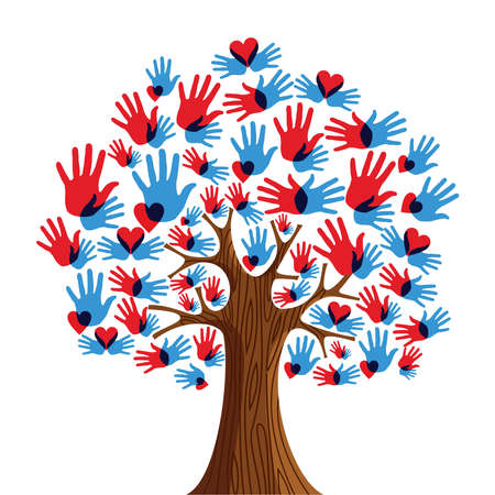 Isolated diversity tree hands illustration.  file layered for easy manipulation and custom coloring.