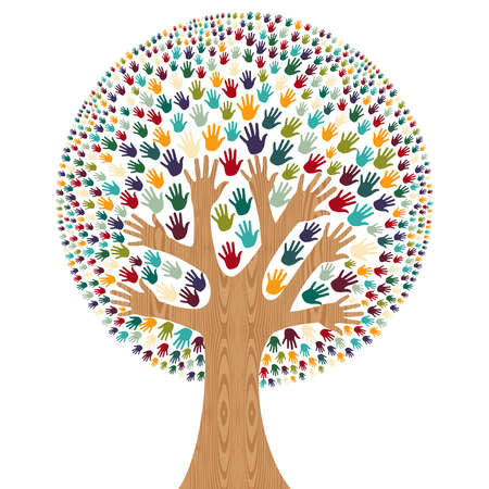 Ilustración de Isolated diversity tree hands illustration for greeting card. file layered for easy manipulation and custom coloring. - Imagen libre de derechos