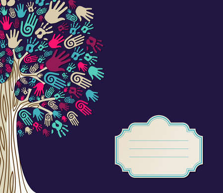Ilustración de Diversity tree hands illustration with blank for text greeting card template.  file layered for easy manipulation and custom coloring. - Imagen libre de derechos