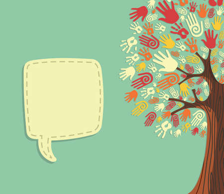 Diversity tree hands illustration with blank for text greeting card template. file layered for easy manipulation and custom coloring.