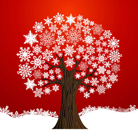 Illustration for White Christmas snowflakes tree over red background.  illustration layered for easy manipulation and custom coloring. - Royalty Free Image