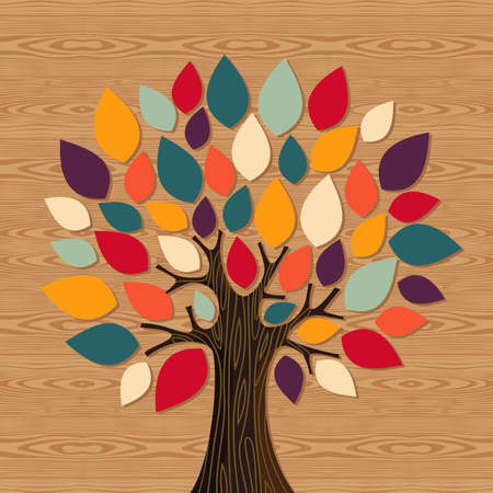 Diversity concept tree illustration. file layered for easy manipulation and custom coloring.