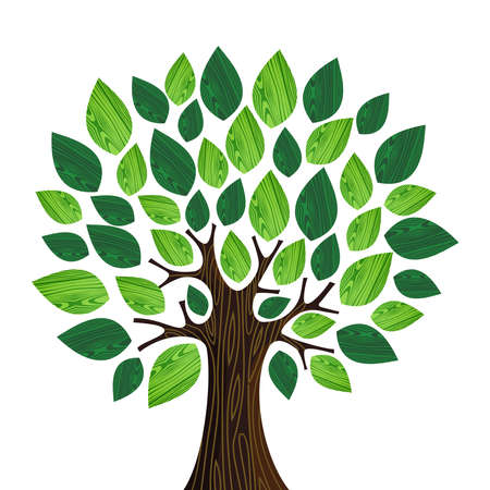 Illustration pour Isolated Eco friendly tree with green wooden leaves illustration. file layered for easy manipulation and custom coloring. - image libre de droit