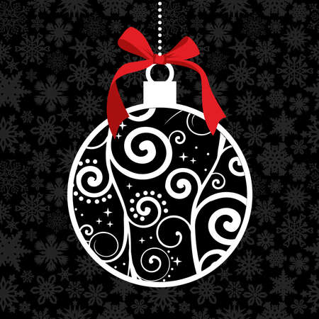 White Christmas hanged bauble over seamless snowflake pattern background. Vector illustration layered for easy manipulation and custom coloring.