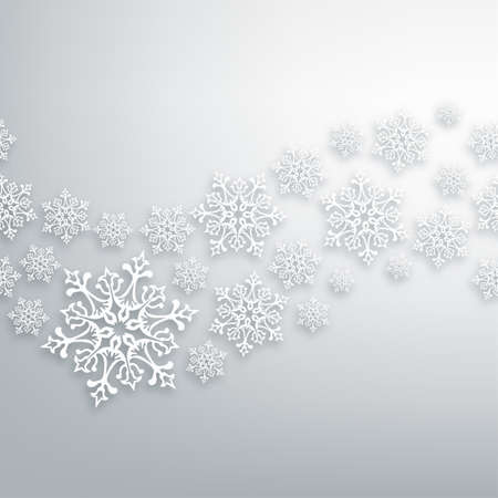 Illustration pour White Christmas snowflakes contemporary seamless pattern.  - image libre de droit
