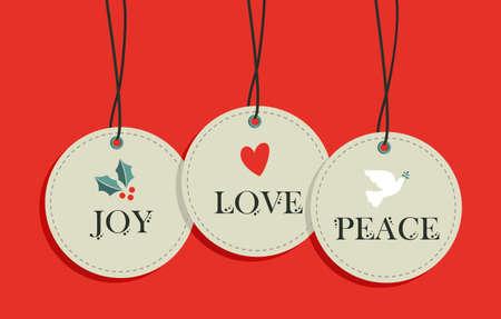 Merry Christmas hang tags sale elements set.