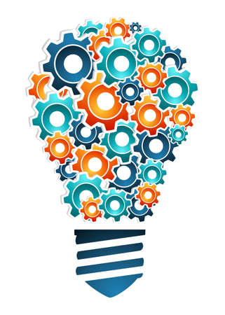 Product design innovation concept  bulb light shaped with multicolored machine gear icons  Vector illustration layered for easy manipulation and custom coloring