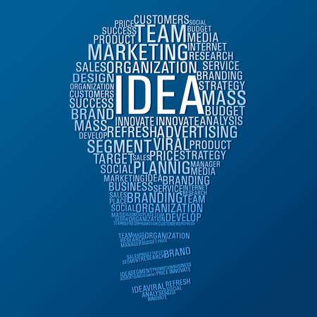 Illustration pour Light bulb shape with marketing concept words on blue background. - image libre de droit