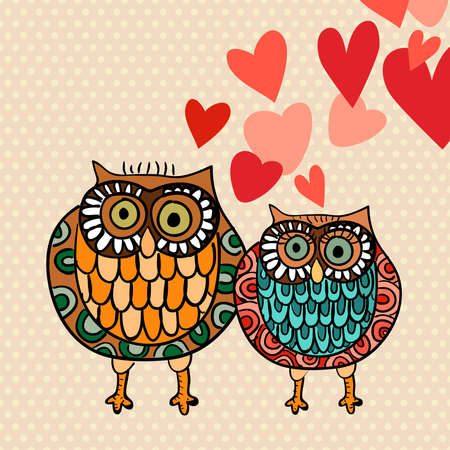 Valentine day lovely owls greeting card. Vector illustration layered for easy manipulation and custom coloring.