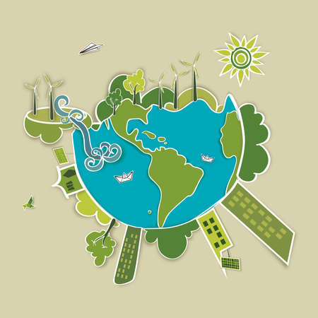 Go green world  Industry sustainable development with environmental conservation background illustration  Vector file layered for easy manipulation and custom coloring