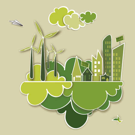 Ecology town, industry sustainable development with environmental conservation background illustration file layered for easy manipulation and custom coloring