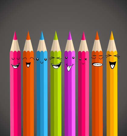 Colorful rainbow pencil, happy face cartoon. illustration layered for easy manipulation and custom coloring.