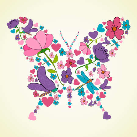 Colorful flower butterfly shape illustration illustration layered for easy manipulation and custom coloring