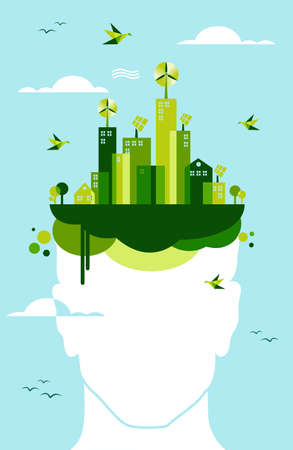 Think green concept  People head and green city town background file layered for easy manipulation and custom coloring