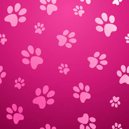 Ilustración de Cute dog footprint abstract  pink seamless pattern background  Vector illustration layered for easy manipulation and custom coloring  - Imagen libre de derechos